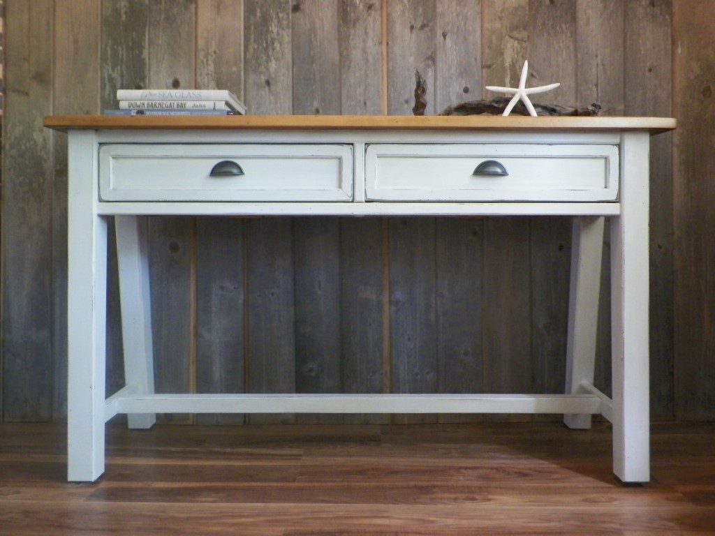 Console Table White with Wood Top