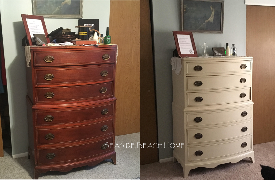 Before And After Cream Color Hand Painted Bedroom Set Furniture