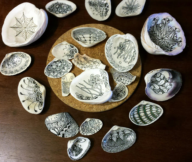 Zentangle on Sea Shells