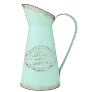 Shabby Chic Metal Jug Vase Pitcher Flower Holder